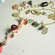 Coral Branch gemstone embellished asymmetrical golden necklace
