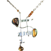 Dichroic, Modern pendant, Camp Sundance, Silver Art Glass Necklace, Citrine, Gem Bliss