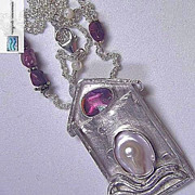 Tourmaline Mabe pearl Silver necklace pink dichroic Camp Sundance pendant