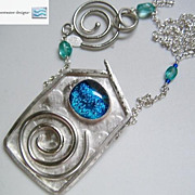 Silver Spiral House necklace aqua blue unique Dichroic Teal Camp Sundance