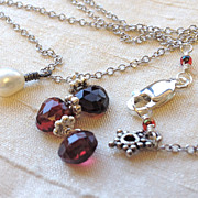 SALE Garnet red trio with white Pearl Silver necklace Camp Sundance