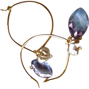 SALE Mystic blue, Lotus Hoop, Keshi Pearl, hoops with charms earring, Gold filled,  Camp Sunda