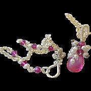 SALE Pink necklace, silver necklace, cluster charm, Camp Sundance, Gem Bliss