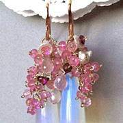 SOLD Rose Gold filled Opalite Topaz earrings Camp Sundance blushing bride