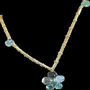 SALE Apatite, blue Topaz, flower necklace, Topaz pendant, Gold filled, Camp Sundance, Gem Blis