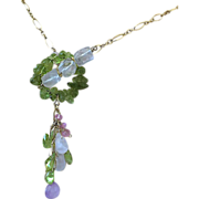 SALE Peridot, Gold filled necklace, Rose quartz, Gem Toggle, August Birthday, Camp Sundance, .