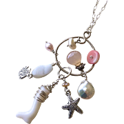 SALE Beach Charms Silver Necklace Gem Bliss