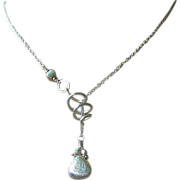 Silver Lariat, spiral toggle necklace, Lariat necklace, Gem Bliss