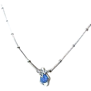 Tanzanite solitaire, Silver necklace, Keshi Pearl pendant, Camp Sundance, Gem Bliss