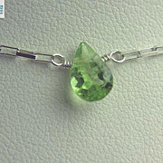 SOLD Peridot petite solitaire Silver necklace Camp Sundance