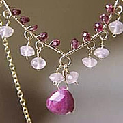 SALE Ruby Rhodolite Garnet Rose Quartz Scroll necklace 14k Gold filled Camp Sundance