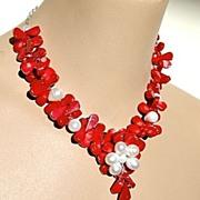 SALE Red Coral briolettes Sterling Silver cluster pendant necklace