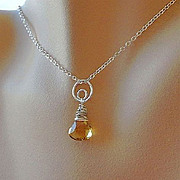 SALE Citrine Necklace, Silver necklace, circle link pendant, Camp Sundance Gem Bliss