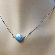 Blue Moon Coin Pearl Solitaire necklace Silver Camp Sundance
