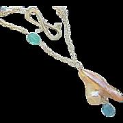 Baroque Pearl pendant, Silver Pearl Necklace, Topaz necklace, Camp Sundance, pendant necklace,