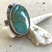 SALE Turquoise Ring, Silver Ring Camp Sundance rustic textured band, Gem Bliss