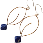 SALE Copper Hoop Earrings Leaf hoops Sodalite charm Silver hooks Gem Bliss