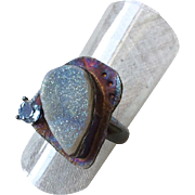 SALE Silver Ring, blue ring, Druzy Topaz, Gem Bliss