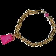 Drusy charm link bracelet, Camp Sundance, 14k Gold filled, pink Charm, Camp Sundance, Gem Blis