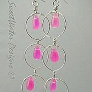SALE Hot Pink Silver hoop earrings long Camp Sundance chandeliers