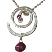 Silver Ruby Necklace, Rhodolite Garnet necklace, Sterling silver spiral, Camp Sundance, Gem ..