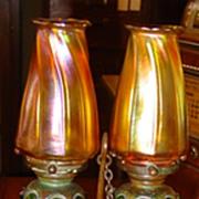 Rare Tiffany bronze double candlestick