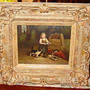 Oil on board Young girl and kittens---1884