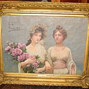 Oil on canvas--Two sisters--France--1887