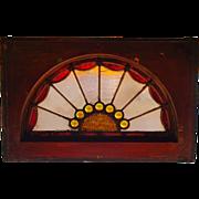 Antique stained glass eyebrow window w jewels--14865