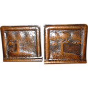 Pretty hammered copper pair of bookends