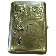 Sterling silver cigarette case-Art Nouveau---Germany