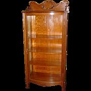 Nice quartered oak curved glass china cabinet-bookcase