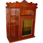 Carved cherry wall cabinet or chest w mirrored door