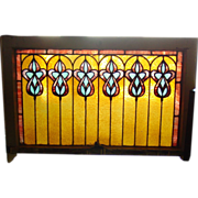Antique stained glass window---geometric design------------15077