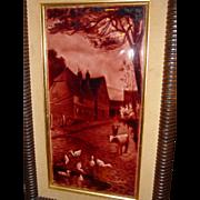 English framed glazed tile-farm scene ducks & cows