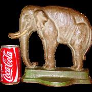 Large vintage cast iron elephant doorstop--Davison Co