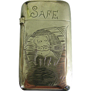 Sterling silver matchsafe vesta ---dog