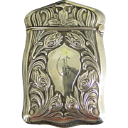 Sterling silver matchsafe vesta--floral design