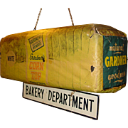 Unusual hanging Gardener's Bread advertising sign---3 dimensional loaf of bread--BAKERY DEPART