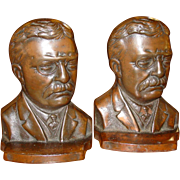 Bronze pair Theodore Roosevelt bookends
