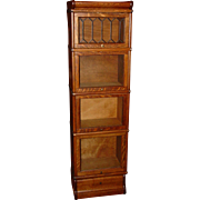 Cute quartered oak half size barrister Bookcase leaded glass and drawer