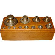 Set brass scale weights- complete 12 with wood box