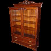 2 door quartered quarter sawn oak Bookcase w carving & 2 drawers