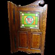 Quartered oak swinging saloon tavern kitchen stain glass door