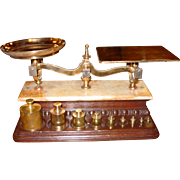 Larger size Troemner scale balance w 9 weights---marble top