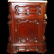 Fancy Burl walnut marble top half commode nightstand