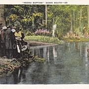 "SOLD Vintage Black Americana ""Down South"" Postcard - Negro Baptism"