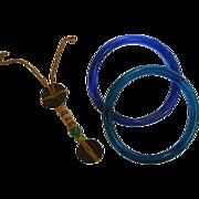 Miscellaneous Peking Glass Parts - Medallion Strand w/ Green Peking Glass Beads & Two Blue ...