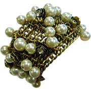 Uniquely Decorated Bronze Mesh Chain Assemblage Bracelet w/ Partial Stretch Rhinestone Adorned