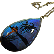 Gorgeous Vintage Butterfly Wing Pendent